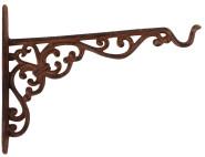 2 Stück Esschert Design Wandhaken für Blumenkörbe, aus Gusseisen, Größe M, ca. 25 x 2,4 x 19 cm
