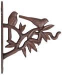 Esschert Design Wandhaken, Blumenhaken mit Vogelmotiv, ca. 19 cm x 5 cm x 22 cm