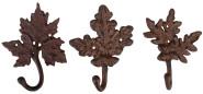 Esschert Design Wandhaken, Gaderobenhaken in Blattform, 1 Stück, sortiert, ca. 15 cm x 6,2 cm x 19 cm