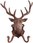 Esschert Design Wandhaken, Gaderobenhaken Motiv Hirsch, Doppelhaken, aus rötlichem Gusseisen, ca. 22 cm x 9,9 cm x 28 cm