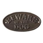 """Esschert Design Warnschild """"Beware of the dog"""", Gusseisen, 19,7 x 0,8 x 10,3 cm, """"Vorsicht vor dem Hund"""" Schriftzug, Gusseisen-Willkommensschild"""