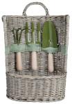 Esschert Design Gartengeräte Korb mit Garten-Harke, -Dreizack & -Schaufel, Höhe 49 cm, Weidekorb für weitere Gartenwerkzeuge, mit Tragegriff