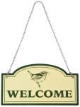 "Esschert Design ""Welcome"" Schild aus Aluminium Metall, 20,1 x 0,1 x 11,1 cm"