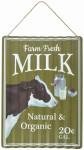 "Esschert Design Wellblechschild Milch, aus den Materialien ""Metall und Juteseil"", 28,0 x 1,3 x 40,0 cm"