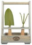 Esschert Design Werkzeugkiste aus Kiefernholz, mit 2 Gartengeräten, 27,1 x 13,5 x 36 cm, inkl. Schaufel und Harke, Gartenwerkzeuge aus Metall, grün