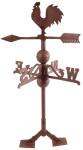Esschert Design Wetterhahn, Wetterfahne im Antik Stil mit Standplatten aus Gusseisen, ca. 36 cm x 36 cm x 69 cm