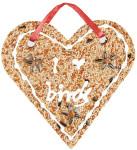 Esschert Vogelfutter Herz, Futterherz, Vogelfutter in Herzform, hochwertige Körnermischung, zum Aufhängen, Maße: ca. 20 x 20 x 3 cm