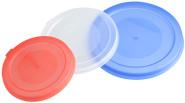 Fackelmann 3 Dosendeckel aus Kunststoff, Ø 7,5 cm, Ø 8,5 cm, Ø 10 cm in rot, weiß, blau