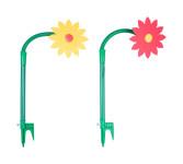 FloraSun Funflower 2er Set Spritzblume mit spitzen Blättern, rot und gelb - die lustige Gartenblume, Sprinkler Blume zur Gartenbewässerung