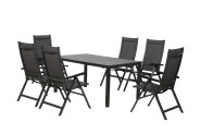 FloraSun® Gartenmöbel Set Dark, 6 Sessel, 1 Tisch