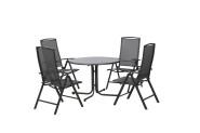 FloraSun® Gartenmöbel Set Family, 4 Sessel, 1 Tisch