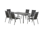 FloraSun® Gartenmöbel Set Friends, 6 Sessel, 1 Tisch