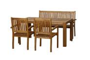 FloraSun® Gartenmöbel Set Nature, 2 Sessel, 1 Bank, 1 Tisch