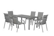 FloraSun® Gartenmöbel Set Silver, 6 Sessel, 1 Tisch