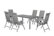 FloraSun® Gartenmöbel Set Silver Deluxe, 6 Sessel, 1 Tisch