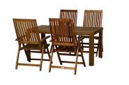 FloraSun® Gartenmöbel Set Strand, 4 Sessel, 1 Tisch