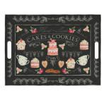 Freeform Serviertablett mit Motiv Cookies 55 x 41 cm, Frühstückstablett aus Kunstleder, auf beiden Seiten und als Platzset verwendbar