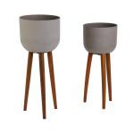 Greemotion 2er Set Pflanzschale mit Beinen, Ø 40 x H97 / Ø 36,5 x 86 cm, aus Akazienholz, Zementoptik aus Sandstein, dreibeiniger Blumentopf