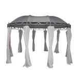 Greemotion Pavillon Nancy mit Seitenwänden, Blattapplikationen, ca. 300 x 273 x 400 cm, UV50+ Schutz, Stahlgestell/Polyester, Kunststoffbeschichtet