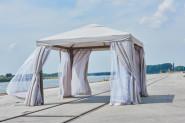 Greemotion Pavillon Portland, zerlegbar, 300 x 300 cm, Seitenwände mit Reißverschluss schließbar, Moskitonetz, Aluminium/Stahlgestell/Polyesterwände