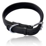 Halsband für größere Hunde aus Elchleder, 65 x 4 cm in schwarz, Schnalle chrom-farben