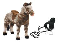 Happy People Spielzeug Pferd Apfelschimmel, mit Sound, Sattelhöhe ca. 52 cm + 2. Sattel in schwarz mit Steigbügel & Zaumzeug