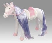 Happy People Spielzeug Pferd Einhorn in weiß, mit Sound, Kopfhöhe ca. 65 cm +  2. Sattel in braun mit Steigbügel & Zaumzeug