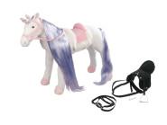 Happy People Spielzeug Pferd Einhorn in weiß, mit Sound, Kopfhöhe ca. 65 cm +  2. Sattel in schwarz mit Steigbügel & Zaumzeug