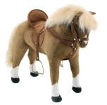 Happy People Spielzeug Pferd, Haflinger, mit Sound, Sattel und Zaumzeug, Sattelhöhe ca. 51 cm + 2. Sattel in braun mit Steigbügel und Za