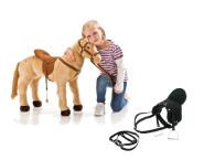 Happy People Spielzeug Pferd in beige, mit 3-fach Sound, Sattelhöhe ca. 50 cm +  2. Sattel in schwarz mit Steigbügel & Zaumzeug