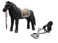 Happy People Spielzeug Pferd Indianerpferd in schwarz, mit Sound, Sattelhöhe ca. 52 cm +  2. Sattel in schwarz mit Steigbügel & Zaumzeug