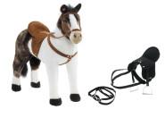 Happy People Spielzeug Pferd Pinto in weiß/braun, mit Sound, Sattelhöhe ca. 48 cm +  2. Sattel in schwarz mit Steigbügel & Zaumzeug