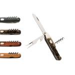 Hartkopf Taschenmesser, 3-teiliges Klappmesser, Griffmaterial wählbar, mit Messer & Gabel, Stahl 1.4034, rostfrei, Neusilberbacken