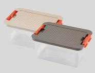 HEIDRUN Systembox, Aufbewahrungsbox, Ordnungsbox, 33 x 22 x 16 cm, mit farbig sortiertem Deckel in Rattanoptik, 8 l, aus Kunststoff