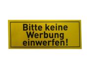 """homeXpert 4er Set Aufkleber """"Bitte keine Werbung einwerfen!"""" je 5 cm x 2 cm, Briefkasten Aufkleber in gelb, Schrift schwarz"""