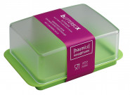 homiez Butterdose, Butterbox, Butterbehälter für normales Butterstück (250g), milchig transparenter Deckel, apfelgrüner Boden