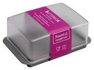 homiez Butterdose, Butterbox, Butterbehälter für ein Butterstück (250g), milchig transparenter Deckel, metallic-silber farbiger Boden