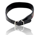 Hunde Halsband aus Kunstleder British Style, schwarz, 40 cm