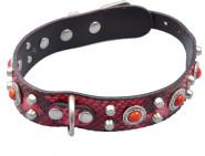Hunde-Halsband Modell Perla Nok Red Python in rot, 47 cm