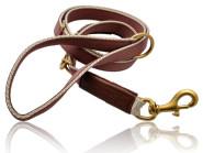 Hundeleine verstellbar Nylon schoko/creme Leder 200 x 2,2 cm