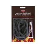 KaminoFlam® - Glasstrickschnur, feuerfestes Abdichtband, anthrazit, Ø 10mm, 2m lang,  inkl. Kleber