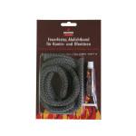 KaminoFlam® - Glasstrickschnur, feuerfestes Abdichtband, anthrazit, Ø 12mm, 2m lang,  inkl. Kleber