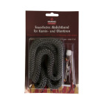 KaminoFlam® - Glasstrickschnur, feuerfestes Abdichtband, anthrazit, Ø 14mm, 2m lang,  inkl. Kleber