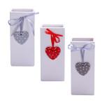 KaminoFlam Heizkörperverdunster Herz-Motiv, Keramik, 9 x 4 x 21 cm, farbig sortiert, 3 Designs, weiß-rot/ -grau/ -anthrazit, für alle Heizkörperarten