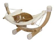 Kerbl Katzenkorb Hängematte SIESTA, weiß, mit Holzgestell, 42 x 36 x 38 cm