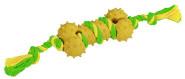 Kerbl Knochen Vollgummi, Baumwolle grün-gelb sortiert, 30 cm