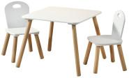 Kesper 1 Kindertisch mit 2 Stühlen, Spielzeug Tisch, FSC Holz, Tisch Garnitur weiß, standfest, einfache Montage