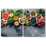 Kesper 2er Set XL Herdabdeckplatte Healthy Kitchen, je 38,5 x 50 cm, 8 mm Sicherheitsglas, für Kochfelder bis 80 cm, Küchenarbeitsplatten