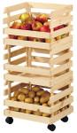 Kesper 3-tlg. Kartoffel- & Obsthorde mit 3 Etagen, 37 x 80 x 30 cm, aus FSC-zertifiziertem Kiefernholz, mit 4 Rädern, max. statische Belastung 25 kg