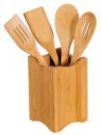 Kesper 5-tlg. Küchenhelfer-Set, je 2x Bratenwender (mit/ohne Schlitz), je 2x runder Kochlöffel (mit/ohne Schlitz), Ständer 11 x 11 cm, Höhe 18 cm